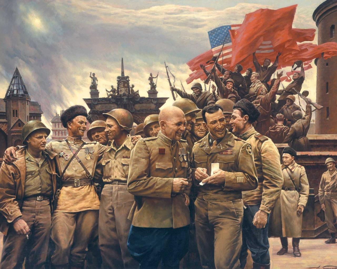 Флаги США и СССР на Эльбе