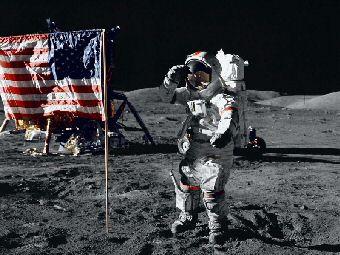 Флаг США побывал на Луне